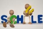 Männchen und Buchstaben Schule