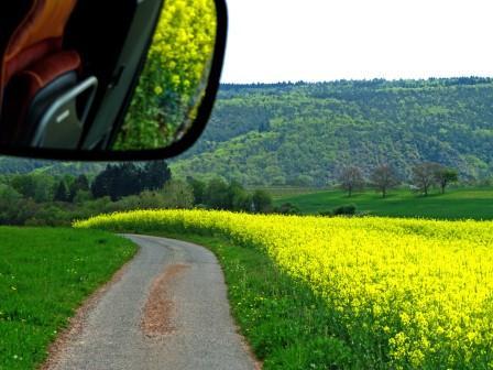 Busfahrt mit Blick in den Spiegel