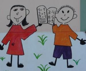 Zwei Strichmännchen-Schulkinder