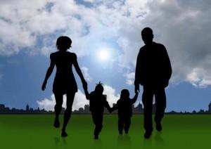 Silhouette einer Familie