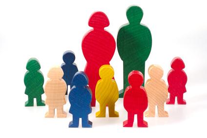 Familie als Holzfiguren