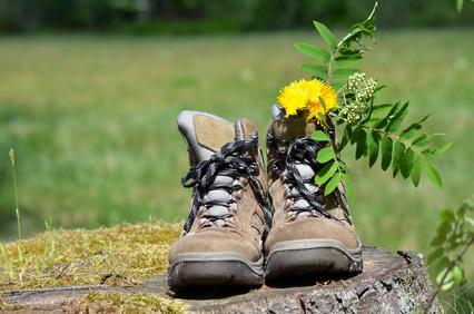 Wanderschuhe mit Blume