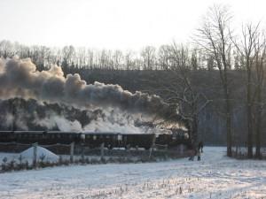Dampflok zieht einen Zug