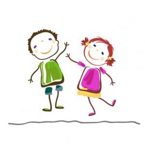 2 kinder als Zeichnung