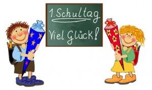 Bild: Tafel und 2 Kinder mit Schultüte